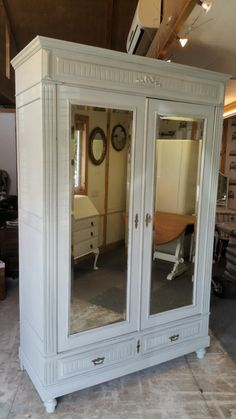 Fabulous painted antique French wardrobe armoire cupboard  with mirror doors by FleuratBrookWillow on Etsy