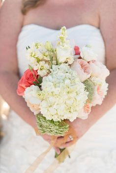 Gorgeous White & Pink Bouquet | Caroline and Evan Photography