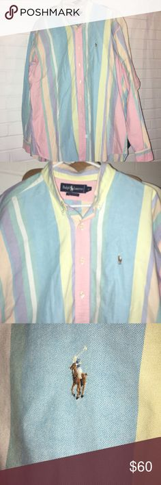 Polo Ralph Lauren Vintage Candy Strip Shirt Sz XL Awesome Like New Vintage Polo in Candy Colors just in time for Easter! Great shirt in Awesome Condition. I will steam this shirt before I send it in the mail to u. I got a professional industrial steamer so all my clothes will look great for my Posh Mark peeps. Thanks for looking! Ralph Lauren Shirts Casual Button Down Shirts