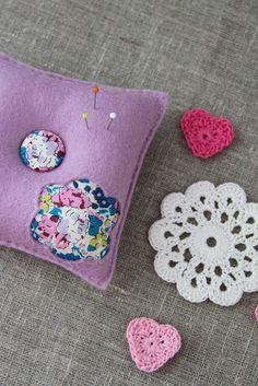 Pincushion felt, lavender purple, aqua, pink with flowers, Liberty fabric - by Plushka on madeit