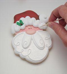 Meringue with 4 egg whites - HQ Recipes Santa Cookies, Christmas Sugar Cookies, Cute Cookies, Holiday Cookies, Cupcake Cookies, Iced Sugar Cookies, Royal Icing Cookies, Noel Christmas, Christmas Baking