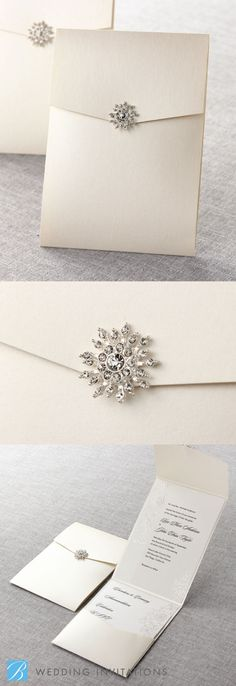Embossed Romantic Couture by B Wedding Invitations  #wedding #invitations #weddinginvitations #bweddinginvitations #swarovski #jewel #pocket #pocketinvitation #crystalinvitation <3