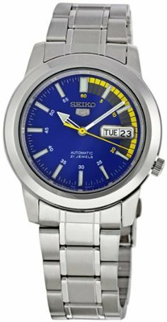 Seiko Men's SNKK27 Seiko 5 Automatic Blue Dial Stainless-Steel Bracelet Watch Seiko. $52.94. Stainless steel case. Scratch resistant hardlex. Water-resistant to 99 feet (30 M). Automatic Self Wind movement. Case diameter: 39 mm. Save 71% Off!