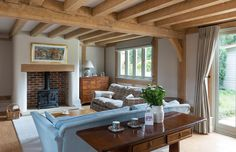 Since 1980 Border Oak have specialised in the design and construction of exceptional bespoke oak framed buildings across the UK and abroad Cottage Lounge, Cottage Living Rooms, Home Living Room, Living Room Decor, Living Area, English Cottage Interiors, Oak Frame House, Lounge Decor, Living Room Inspiration