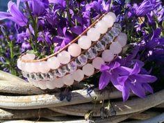 3-rij armband Rozenkwarts- Bergkristal