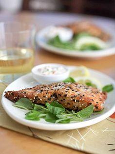 Sesame-Crusted Salmon http://www.recipe.com/sesame-crusted-salmon/?socsrc=recpin022112sesamesalmon