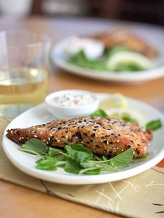 sesame crusted salmon.