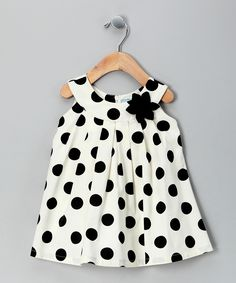 Cream Polka Dot Yoke Dress - Infant, Toddler & Girls...I know some little girls that would look adorable in this!