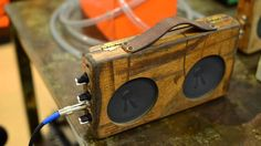 Made in Austin ( Texas ) Radio Design, Speaker Box Design, Car Stereo Speakers, Diy Speakers, Diy Electronics, Electronics Projects, Iphone 5c, Iphone Guitar, Cigar Box Guitar Plans