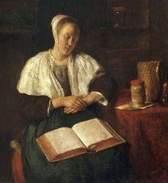Gabriel Metsu (Dutch Baroque Era Painter, 1629-1667) A Woman Sleeping