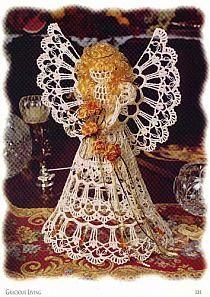 Moje schematy aniołków - nula - Picasa Web Albums na Stylowi.pl Crochet Angel Pattern, Crochet Angels, Crochet Teddy, Crochet Doily Patterns, Crochet Motif, Christmas Angels, Christmas Tree Ornaments, Christmas Crafts, Xmas