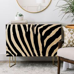The Deny Designs Natalie Baca Zebra Stripes Credenza is the pinnacle of vogue style and multi-functionality. Sporting Baltic birch construction with glossy finish and shapely gold Aston legs, this credenza makes the perfect statement. Recycled Furniture, Cheap Furniture, Furniture Design, Furniture Removal, Gold Painted Furniture, Patterned Furniture, Trendy Furniture, Furniture Dolly, Plywood Furniture