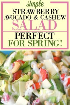 This strawberry, avocado & cashew salad with poppyseed dressing is the perfect spring salad for parties showers, Easter dinner, or your family. It is so simple, but will make you look like a rockstar & WOW your guests. It's the perfect salad for spring. #theintentionalmom #salad #healthyrecipes @salads via @www.pinterest.com/JenRoskamp