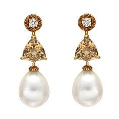 DONNA VOCK South Sea Pearl, Beryl & Diamond Drop Earrings 1