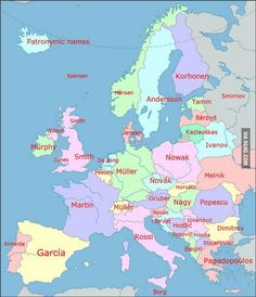 Most common family names in Europe