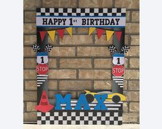 Cars Giant photo frame prop for photo booth // race car