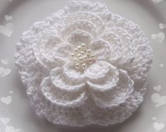 5 Crochet Flower in 3 inches in Lt PInk YH  043-15