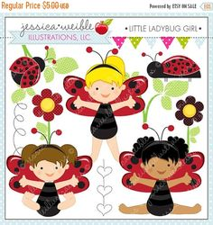 SALE Little Ladybug Girl Cute Digital Clipart for Commercial or Personal Use, Lady Bug Clipart, Ladybug Girl