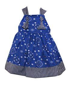Another great find on #zulily! Blue & Black Bandanna A-Line Dress - Toddler & Girls #zulilyfinds