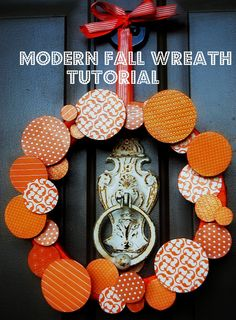 Modern DIY door wreath for your home. Order wooden circles to complete this look: sales@diversewoodworking.com #DIYwreath #fallcrafts
