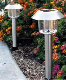 These 2 energy-efficient and low-maintaence stainless steel solar pathway lights will add style to your walkway, yard or garden without running wires.