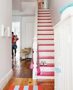 Not sure about the pink, but a more neutral color would be fantastic. I'd still worry about the kids and the dog sliding down the stairs...