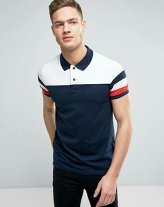 Tommy Hilfiger Color Block Polo Slim Fit in Navy Polo Shirt Style, Polo Shirt Design, Polo Shirt Outfits, Polo Rugby Shirt, Mens Polo T Shirts, Boys Shirts, Mens Tees, Men's Polo, Polo Outfits For Women