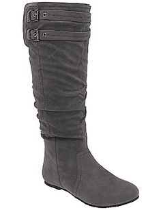 "Avg. 18"" circumference / Buckled slouch boot by Lane Bryant in gray, black, or brown. $69.95 (they feel pretty cheap, IMO)"