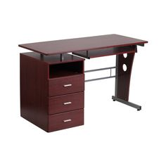 Flash Furniture White puter Desk with Three Drawer Pedestal [NAN