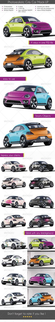 Photorealistic Girly Mock-up MockUp volkswagen coccinelle Flocage voiture  Car Wrapping photoshop PSD http://graphicriver.net/user/micfont999