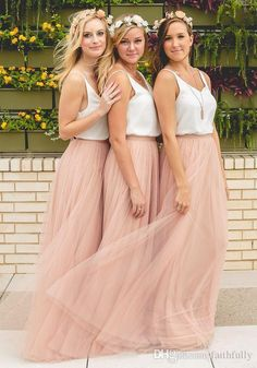 2017 Hot Cheap Bridesmaid Dresses Boho Tulle Skirt Blush Prom Dresses Spaghetti Bridesmaid Gowns Maxi Skirt Floor Length Evening Party Gowns Bridesmaid Dresses For Beach Wedding Bridesmaid Dresses For Plus Size From Faithfully, $69.35| Dhgate.Com
