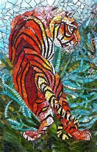 mosaique Anne Bedel: Tigre dans la jungle en Inde- mosaic jungle tiger ...