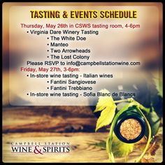 Come and open up to a world of wonderful flavors! Your no.1 #WineStore in #Knoxville has prepared an amazing array of tastings and events that you should not miss. Check out our calendar!  Visit our website now: http://www.campbellstationwine.com/