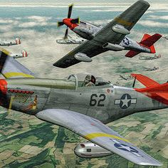 """Lt Col Bob Friend USAF-Ret flying his North American Mustang """"Bunny"""" with the Fighter Group the """"Tuskegee Airmen"""". Airplane Illustration, Tuskegee Airmen, P51 Mustang, Fighter Pilot, Automotive Art, Aviation Art, African American History, Military Art, War Machine"""