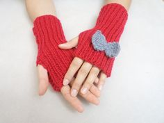 Hand knitting gloves Red fingerless gloves with by BloomedFlower, $20.00