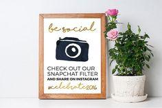 Be Social Snapchat Social Media Print Sign ~ Printable DIY Customisable Design ~ Wedding/Party/Birthday Signage ~ Gold Foil Download