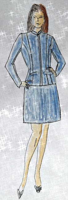 Fashion sketching for pinestripe woman suit. For photos please visit the blog. Kaavoihin kangistumatta: Työpuvuston sydän