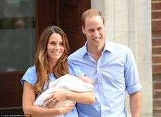 July 23, 2013 - William, Catherine and Prince George leaving the hospital just one day after Catherine gave birth.