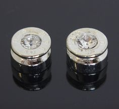 Bullet Shell Silver with Crystal Earrings