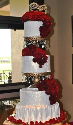 There's ALOT going on here - but the idea of incorporating a mask into the cake might be nice?