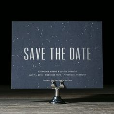 Modern Lumen is a constellation wedding invitation suite inspired by a rustic wedding with modern charm, silver foil stars and modern fonts.