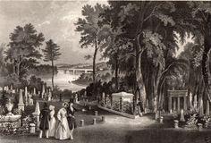 Original 1844 Engraving of the Laurel Hill Cemetery in Philadelphia