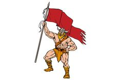 Viking Warrior Brandishing Red Flag  - Illustrations. Illustration of a norseman viking warrior raider barbarian wearing horned helmet with beard holding brandishing red flag viewed from front set on isolated white background done in retro style. #illustration #VikingWarrior