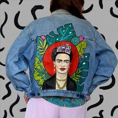 This item is unavailable : Frida Kahlo hand painted denim jacket painted clothing Painted Denim Jacket, Painted Jeans, Painted Clothes, Hand Painted, Custom Clothes, Diy Clothes, Denim Art, Denim Crafts, Vintage Denim