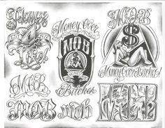 Chicano Tattoos, Gangster Tattoos, Body Art Tattoos, Chicano Drawings, Tattoos Skull, Chicano Lettering, Tattoo Lettering Fonts, Graffiti Lettering, Graffiti Writing
