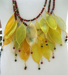 Leaf Necklace by Gilladian made with transluscent Pardo clay