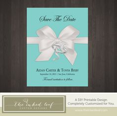 Tiffany & Co Jewelry Box Inspired Custom Photo of Your Ring, Big White Bow, Robins Egg Blue Background - Custom Printable Save the Date Card
