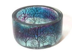 Watercolor Resin Bangle. Silhouette Trees in Watercolor Sky Bracelet.