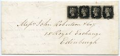 RARE 1843 cover with horiz strip of four 1d black pl 6 Kirkcaldy to Edinburgh MX | eBay