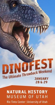 The Natural History Museum of Utah is holding its first ever DinoFest, celebrating all things dinosaur with a focus on the Utah dinosaurs that make NHMU's Past Worlds exhibit and collections so unique. Meet paleontologists who specialize in Utah dinosaurs and enjoy the Museum as we bring these creatures from long ago alive to guests of all ages.